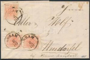 1855 3kr függőleges pár 2 oldalon kézzel tépve + 3kr távolsági levélen (teljes tartalommal) látványos darab / 3kr vertical pair teared on 2 sides + 3kr on cover (with full content) AGRAM - W.NEUSTADT