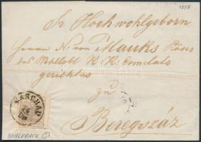 1857 6kr MP III. szép / óriási szélekkel, üreges nyomat távolsági levélen / with large margins on cover KASCHAU - BEREGSZÁSZ