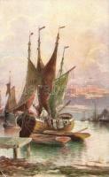 Sailing Ship, artist signed, Vitorlás hajó, szignós
