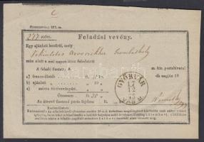 1873 Feladóvevény / Senders receipt GYŐRVÁR VAS M.