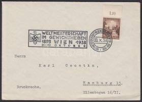1938 Nyomtatvány a bécsi súlyemelő világbajnokság alkalmi bélyegzésével / Printed matter with special cancellation of the Weight Lifting Word Championship Vienna