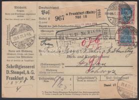 1921 Csomagszállító Svájcba 21M bérmentesítéssel, 1 bélyeg DS céglyukasztással / Mi A113 + 10x152 (1 with perfin DS) on parcel card to Switzerland