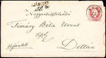 1868 2 x 5kr 5kr díjjegyes borítékon ajánlott levélként, teljes tartalommal / 2 x 5kr on 5kr PS-cover as registered cover, with full content SÁGH (Gudlin 350 p) - DETTA