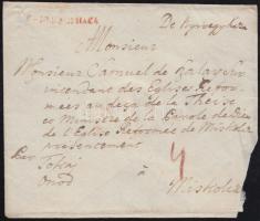 1787 Portós levél piros / red V. NYÍREGYHÁZA - Miskolcz