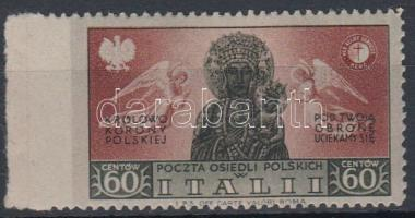 Lengyel Hadtest / Polish corps 1946 Sassone 21 bal oldalon fogazatlan / imperforate on the left. Certificate: Carraro