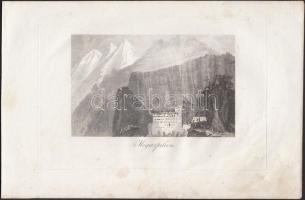 cca 1800 4 db görögországi témájú rézmetszet (Mistra, Megaspileon, Zante, Ioannina), 13x8 cm