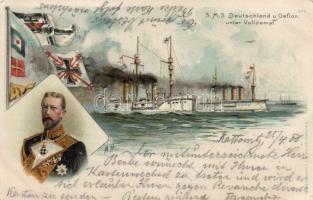 SMS Deutschland und Gefion, litho s: A. H., SMS Gefion német hadihajó, litho s: A. H.