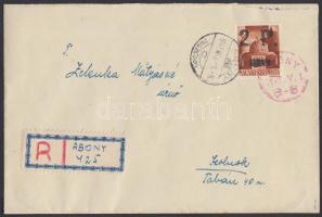 """Abony Hadvezérek 2P/20f ajánlott levélen Szolnokra """"1945. V. 1."""" piros alkalmi bélyegzéssel, az abonyi felülnyomást készítő Molnár postamester hagyatékából. A bélyeg 50 példányban készült, küldeményen néhány példány létezhet. Certificate: Bodor, Visnyovszki Local issue Abony, 2P/20f on registered cover to Szolnok, with red May Day special cancellation. Original from the legacy of postmaster Molnár - the maker of the overprints. Issue of the stamp: 50 pcs, a few covers could exist. Certificate: Bodor, Visnyovszki"""