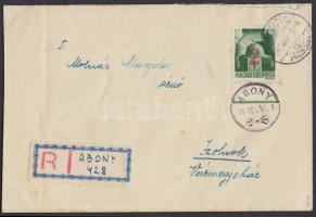 """Abony Hadvezérek 2P/1P piros felülnyomással ajánlott levélen Szolnokra """"1945. V. 1."""" alkalmi bélyegzéssel, az abonyi felülnyomást készítő Molnár postamester hagyatékából. A bélyeg 48 példányban készült, küldeményen néhány példány létezhet. Certificate: Bodor, Visnyovszki Local issue Abony, 2P/1P red overprint on registered cover to Szolnok, with May Day special cancellation. Original from the legacy of postmaster Molnár - the maker of the overprints. Issue of the stamp: 48 pcs, a few covers could exist. Certificate: Bodor, Visnyovszki"""