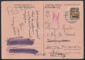 Abony Hadvezérek 40f/10f levelezőlapon Jászfényszarúra és visszairányítva, az abonyi felülnyomást készítő Molnár postamester hagyatékából. A bélyeg 100 példányban készült, küldeményen néhány példány létezhet. Certificate: Bodor, Visnyovszki Local issue Abony, 40f/10f on postcard to Jászfényszaru, returned. Original from the legacy of postmaster Molnár - the maker of the overprints. Issue of the stamp: 100 pcs, a few covers could exist. Certificate: Bodor, Visnyovszki