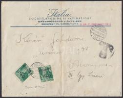 ;Abony 1945 2 x Portó 1,40P/12f Budapestről küldött levélen, az abonyi felülnyomást készítő Molnár postamester hagyatékából. A bélyeg 200 példányban készült, küldeményen néhány példány létezhet. Certificate: Bodor, Ferenc Orbán, Visnyovszki Local issue Abony, 2 x Postage due 1,40P/12f on cover from Budapest. Original from the legacy of postmaster Molnár - the maker of the overprints. Issue of the stamp: 200 pcs, a few covers could exist. Certificate: Bodor, Ferenc Orbán, Visnyovszki