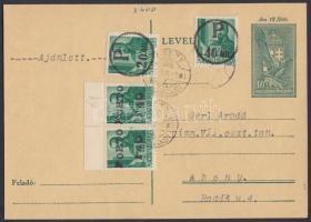 Abony Portós ajánlott helyi levelezőlap 20f/12f, 40f/12f, 2 x 1,40P/12f portó bélyegekkel, az abonyi felülnyomást készítő Molnár postamester hagyatékából. A bélyegek 100-200 példányban készültek, küldeményen néhány példány létezhet. Certificate: Bodor, Flasch, Visnyovszki Local issue Abony, registered local postcard with postage due 20f/12f, 40f/12f, 2 x 1,40P/12f. Original from the legacy of postmaster Molnár - the maker of the overprints. Issue of the stamp: 100-200 pcs, a few covers could exist. Certificate: Bodor, Flasch, Visnyovszki