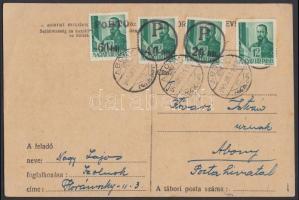 Abony Levelezőlap Szolnokról Abonyba Hadvezérek 12f bérmentesítéssel, 20f/12f + 40f/12f + 60f/12f portóval, az abonyi felülnyomást készítő Molnár postamester hagyatékából. A portóbélyegek 100 példányban készültek, küldeményen néhány példány létezhet.  Certificate: Bodor Local issue Abony, domestic postcard from Szolnok to Abony franked with Mi 713, with postage due stamps 20f/12f + 40f/12f + 60f/12f. Original from the legacy of postmaster Molnár - the maker of the overprints. Issue of the postage due stamps: 100 pcs each, a few covers could exist. Certificate: Bodor