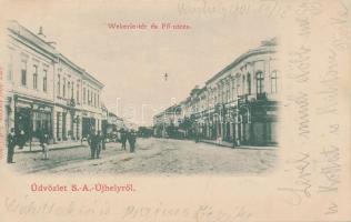 Sátoraljaújhely, Wekerle tér, Fő utca, Wessely Mór üzlete; Lővy Adolf kiadása