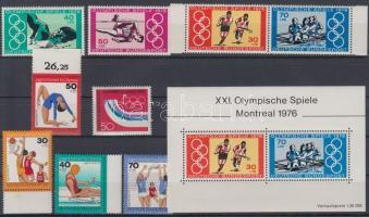 1976 Olimpia sorok, értékek Mi 875, 882-889 + blokk Mi 12