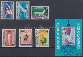 1979 Moszkvai nyári olimpia sor Mi 2800-2805 + blokk Mi 93