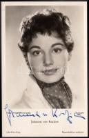 Johanna von Koczian (1933-) német színésznő, énekesnő, írónő saját kezű aláírása az őt ábrázoló fotóképeslapon / autograph signature.