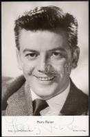 Hans Reiser (1919-1992) német színész saját kezű aláírása az őt ábrázoló fotóképeslapon / autograph signature.