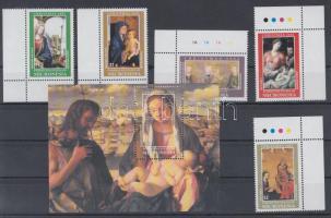 2002 Karácsony, festmények normál és ívszéli bélyegek (sor) + blokk Mi 1346-1350 + Bl 113