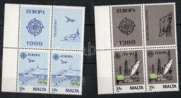 1988 Europa CEPT: Közlekedés és kommunikáció 2 sor négyestömbben 2 klf szelvénnyel + kisív pár Mi 794-795