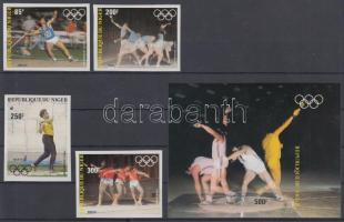1983 Nyári olimpia vágott sor Mi 846-849 + vágott blokk Mi 40