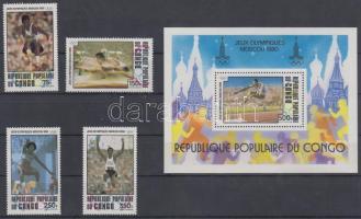 1980 Nyári olimpia sor Mi 726-729 + blokk Mi 22