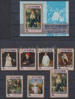 1967 Edouard Manet festményei sor Mi 131-137 A + blokk 12A