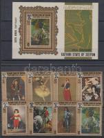 1967 Festmények sor Mi 108-115 A + blokk 3A