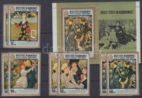 1967 Auguste Renoir festményei 2 sor Mi 142-145 A + blokk 17A