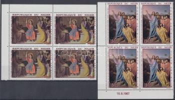 1967 Festmények sor Mi 170-171 ívsarki négyestömbökben
