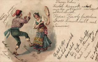 Olasz folklór, tánc,litho, Italian folklore, dancing, litho