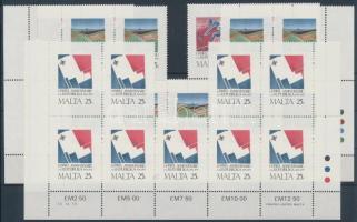 1975 Köztársaság 1. évfordulója sor Mi 521-523 9-es ívdarabokban