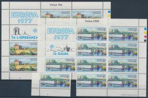 1977 Europa CEPT sor Mi 554-555 (7c kisív ép, 20c kisív bal alsó bélyeg kitépve)