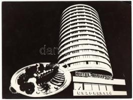 cca 1970-1980 Ismeretlen szerző: Hotel Budapest, reklám fotógrafika, montázzsal kombinálva, egyik sarka törött, 18x24 cm