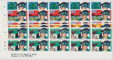 1974 James Cook sor ívsarki tízestömbökben Mi 140-143
