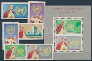 1966 VI. Pál pápa az ENSZ-ben vágott sor Mi 494-499 B + blokk 23