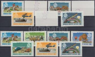 1974 100 éves az UPU (I.) sor Mi 842-848 + MINTA sor (bélyegek hátuljára pecsételve)/ SPECIMEN