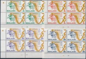 1974 100 éves az UPU sor + sor négyestömbökben Mi 216-219 + blokk 36