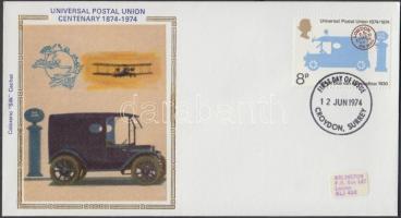 1974 100 éves az UPU sor Mi 650-653 + 4 FDC + angol kiadvány az UPU-ról