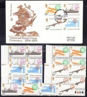 1974 100 éves az UPU sor + sor négyestömbökben Mi 650-653 + FDC