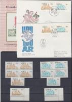 1974 100 éves az UPU 2 sor + sor négyestömbökben Mi 691-692 + 2 klf FDC + emléklappal