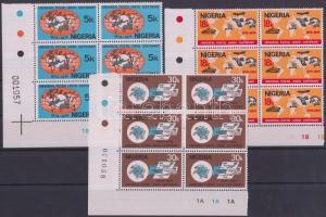 1974 100 éves az UPU sor ívsarki hatostömbökben Mi 304-306