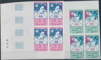 1974 100 éves az UPU vágott sor Mi 442-445 ívsarki üresmezős négyestömbökben