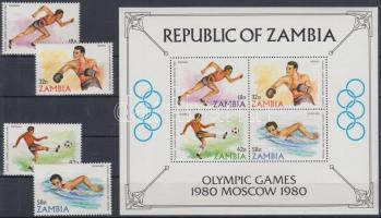 1980 Nyári olimpia sor Mi 225-228 + blokk Mi 9
