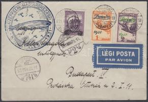 Zeppelin magyarországi körrepülés levél 2P helyett Zeppelin 1P és 2P bélyeggel (Ritka!), debreceni ledobás Zeppelin Hungary round flight with both Zeppelin stamps (instead of 2P) Rare!