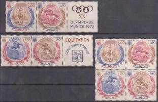 1972 Nyári olimpia, München sor Mi 1045-1048 négyestömbben + 2 db szelvényes párban
