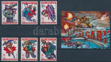 1987 Téli olimpia sor Mi 1065A-1070A + blokk Mi 49 A