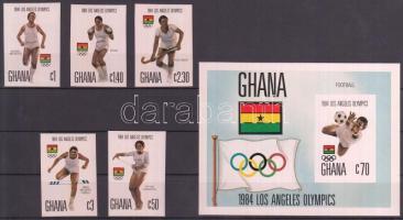 1984 Nyári olimpia vágott sor Mi 1048-1052 + vágott blokk Mi 109