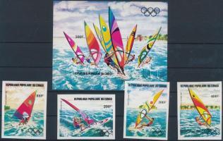 1983 Olimpia, szörfözők vágott sor Mi 917-920 + vágott blokk 33