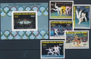 1984 Los Angeles-i olimpia vágott sor Mi 946-950 + vágott blokk 35
